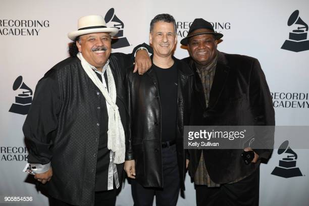 musician Carlos Reyes author and neuroscientist Daniel Levitin and producer Larry Batiste pose for a photo on the red carpet at the San Francisco...