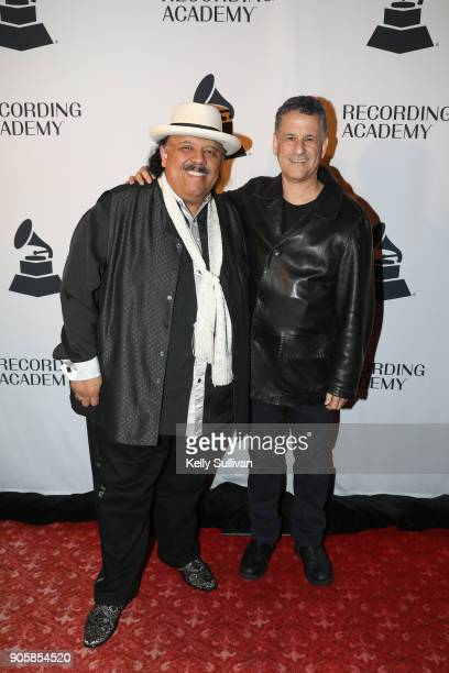 Musician Carlos Reyes poses for a photo on the red carpet with author and neuroscientist Daniel Levitin at the San Francisco 60th GRAMMY Award...