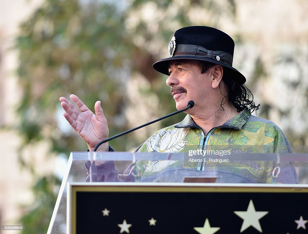 Musician Carlos Santana attends a ceremony honoring Maná with the 2,573rd Star on the Hollywood Walk of Fame on February 10, 2016 in Hollywood, California.
