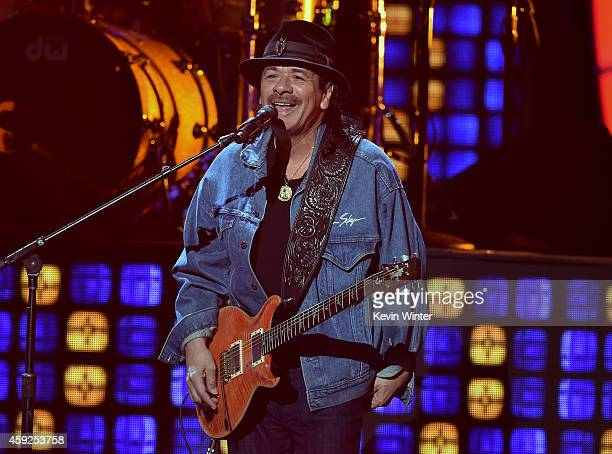 Musician Carlos Santana performs onstage during rehearsals for the 15th annual Latin GRAMMY Awards at the MGM Grand Garden Arena on November 19 2014...