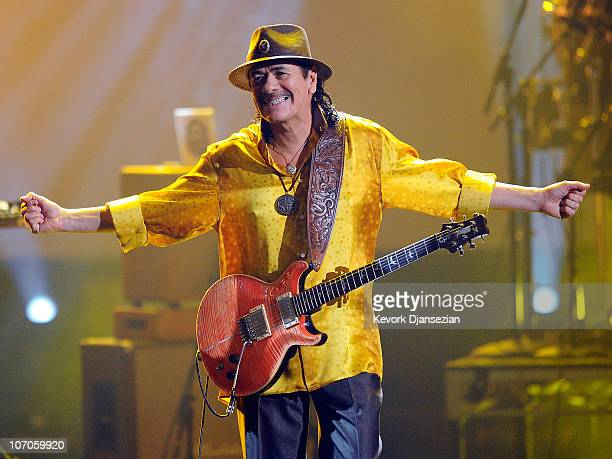 Musician Carlos Santana performs onstage during the 2010 American Music Awards held at Nokia Theatre LA Live on November 21 2010 in Los Angeles...