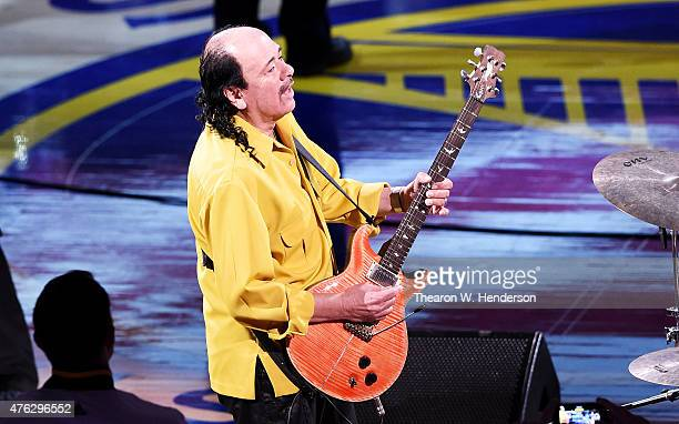 Musician Carlos Santana performs prior to Game Two of the 2015 NBA Finals between the Golden State Warriors and the Cleveland Cavaliers at ORACLE...