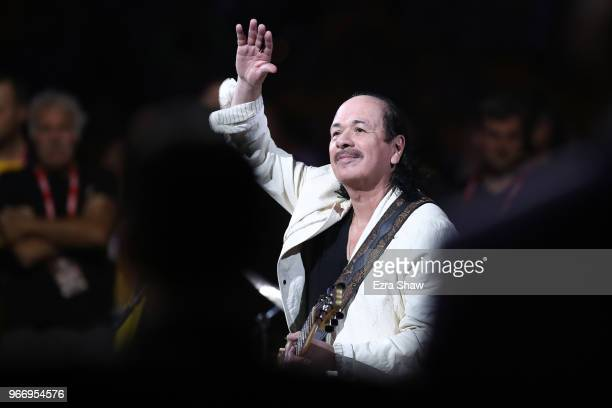 Musician Carlos Santana plays the National Anthem prior to Game 2 of the 2018 NBA Finals between the Golden State Warriors and the Cleveland...
