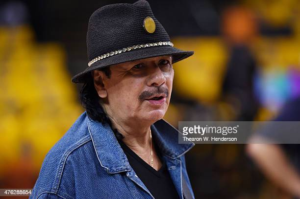 Musician Carlos Santana rehearses prior to Game Two of the 2015 NBA Finals between the Golden State Warriors and the Cleveland Cavaliers at ORACLE...
