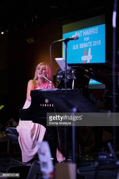 Musician Carol Welsman performs onstage at Pat Harris' California Democratic US Senate Run 2018 Kick Off at Catalina Jazz Club Bar Grill on September...