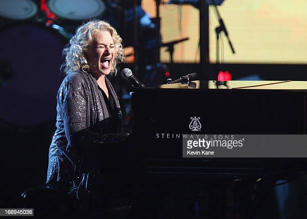 Musician Carole King performs onstage during the 28th Annual Rock and Roll Hall of Fame Induction Ceremony at Nokia Theatre LA Live on April 18 2013...