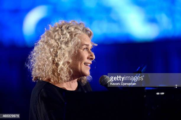 Musician Carole King performs onstage during the 56th GRAMMY Awards at Staples Center on January 26 2014 in Los Angeles California