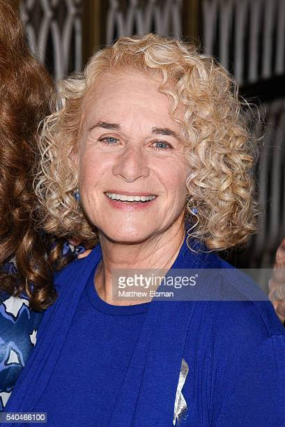 Musician Carole King poses for a photo after the curtain call of the 1000th performance of 'Beautiful The Carole King Musical' at Stephen Sondheim...