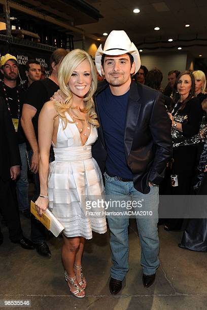 Musician Carrie Underwood and Brad Paisley pose backstage at the 45th Annual Academy of Country Music Awards at the MGM Grand Garden Arena on April...