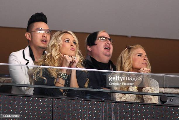 Musician Carrie Underwood attends Game Five of the Western Conference Semifinals between the Nashville Predators and the Phoenix Coyotes during the...