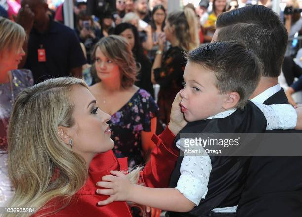 Musician Carrie Underwood husband Mike Fisher and son Isaiah Michael Fisher at Carrie Underwood Star Ceremony On The Hollywood Walk Of Fame held on...