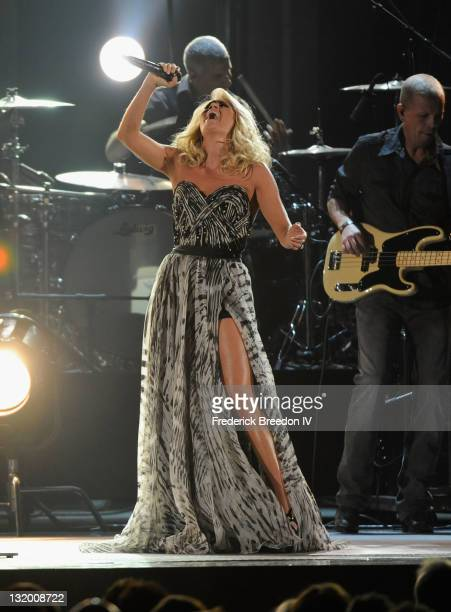 Musician Carrie Underwood performs during the 45th annual CMA Awards at the Bridgestone Arena on November 9, 2011 in Nashville, Tennessee.
