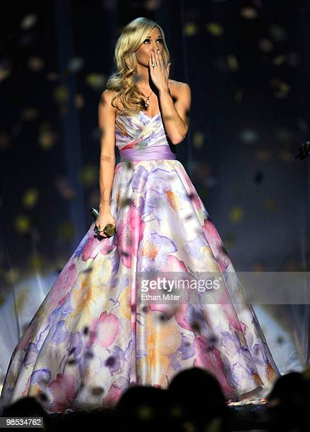 Musician Carrie Underwood performs onstage during the 45th Annual Academy of Country Music Awards at the MGM Grand Garden Arena on April 18 2010 in...