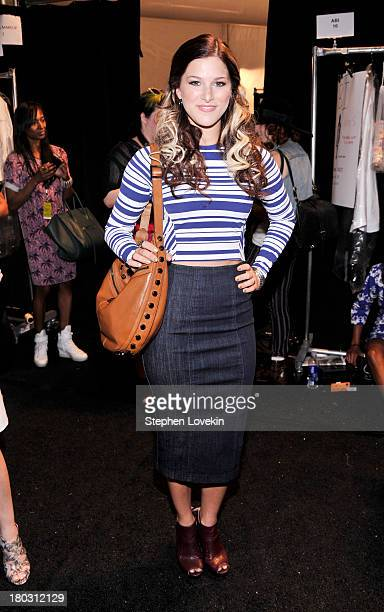 Musician Cassadee Pope poses backstage at the Nanette Lepore fashion show during MercedesBenz Fashion Week Spring 2014 at The Stage at Lincoln Center...
