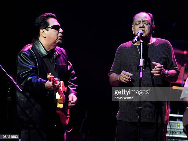 Musician Cesar Rosas and actor/comedian Cheech Marin perform onstage at Help Haiti with George Lopez Friends at LA Live's Nokia Theater on February 4...