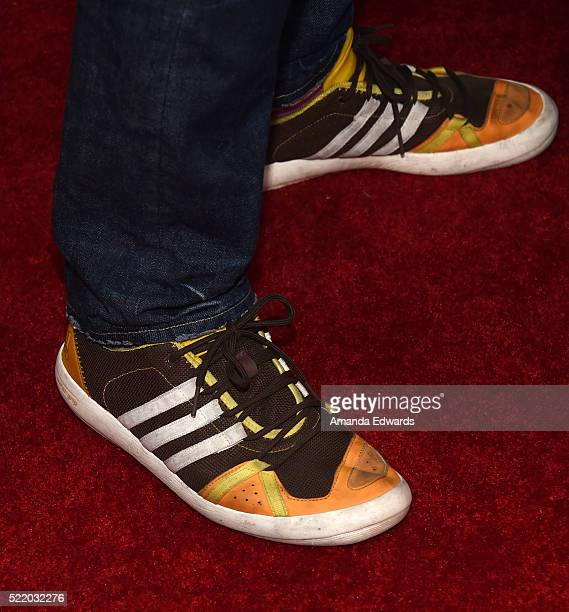 Musician Chad Smith shoe detail arrives at the John Varvatos 13th Annual Stuart House Benefit presented by Chrysler with kids' tent by Hasbro Studios...