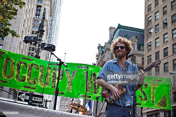 Musician Chad Stokes Urmston formally of the band 'Dispatch' and now lead singer of the band 'State Radio' performs during an Occupy Wall Street...