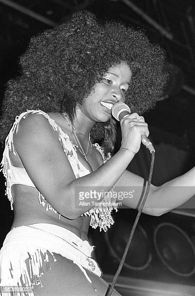 Musician Chaka Khan of the group Rufus performs at the Felt Forum New York New York April 10 1976