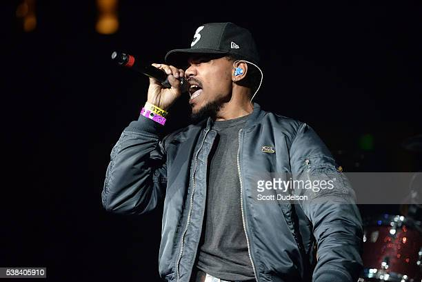 Musician Chance the Rapper performs onstage at the Power 106 Powerhouse show at Honda Center on June 3, 2016 in Anaheim, California.