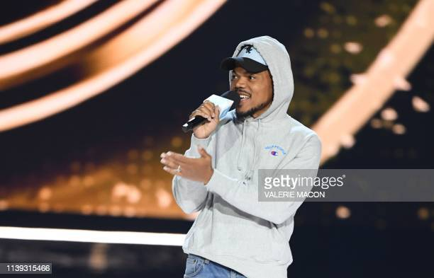 Musician Chance The Rapper speaks on stage during WE Day California at the Forum in Inglewood California on April 25 2019 WE Day is the worlds...