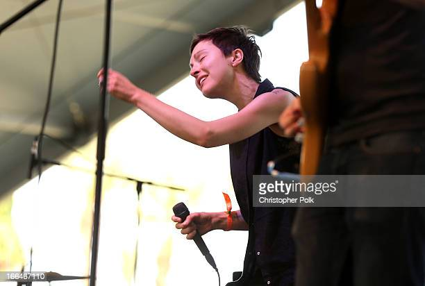 Musician Channy Leaneagh of Polica performs onstage during day 1 of the 2013 Coachella Valley Music Arts Festival at the Empire Polo Club on April 12...