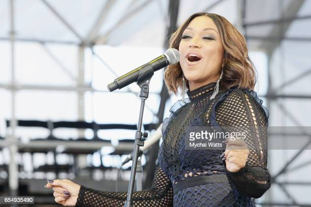 Musician Chante Moore performs on stage at The 12th Annual Jazz In The Gardens Music Festival Day 1 at Hard Rock Stadium on March 18 2017 in Miami...