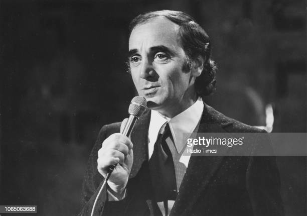 Musician Charles Aznavour performing on the television show 'The Nana Mouskouri Show' April 15th 1974