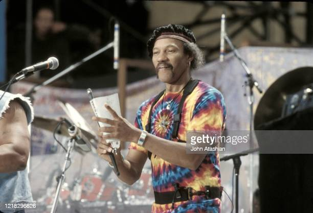 "Musician Charles Neville is shown performing on stage during a ""live"" concert appearance on August 14, 1994."