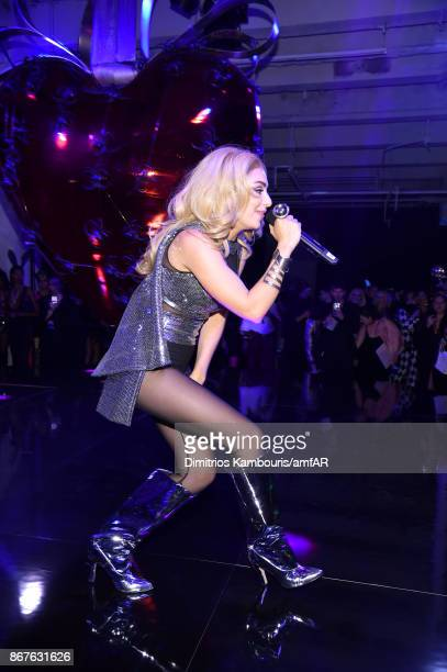 Musician Charli XCX performs onstage at the 2017 amfAR The Naked Heart Foundation Fabulous Fund Fair at Skylight Clarkson Sq on October 28 2017 in...