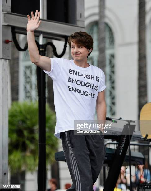 Musician Charlie Puth performs at March For Our Lives Los Angeles on March 24 2018 in Los Angeles California