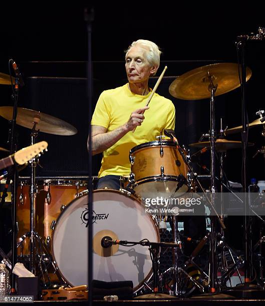 Musician Charlie Watts of The Rolling Stones performs during Desert Trip at the Empire Polo Field on October 14 2016 in Indio California
