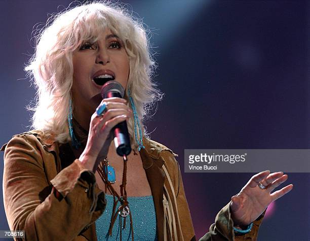 Musician Cher performs at the taping of 'American Bandstands 50thA Celebration' television special honoring the music show April 20 2002 in Pasadena...