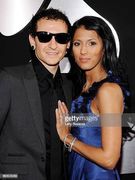 Musician Chester Bennington and wife Talinda Bentley of the band Linkin Park arrive at the 52nd Annual GRAMMY Awards held at Staples Center on...