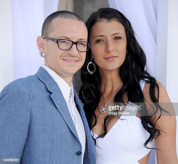 Musician Chester Bennington of Linkin Park and wife Talinda Ann Bentley arrive at the 2012 Billboard Music Awards at MGM Grand on May 20, 2012 in Las...