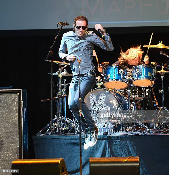 Musician Chester Bennington performs during the 9th Annual MusiCares MAP Fund Benefit Concert at Club Nokia on May 30 2013 in Los Angeles California