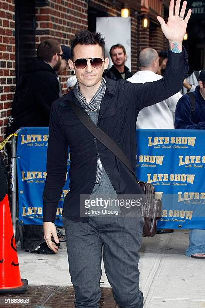 Musician Chester Bennington visits Late Show With David Letterman at the Ed Sullivan Theater on October 13 2009 in New York City