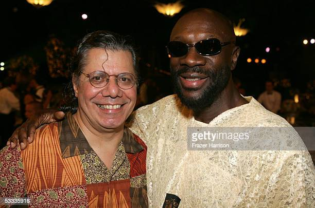 Musician Chick Corea and singer Isaac Hayes pose at the Church of Scientology Celebrity Centre 36th Anniversary Gala on August 6 2005 in Hollywood...