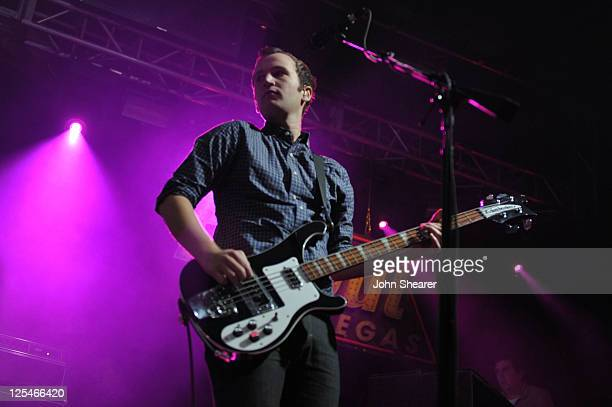 Musician Chris Baio of Vampire Weekend performs onstage during the Fallout New Vegas launch event featuring Vampire Weekend at Rain Nightclub inside...