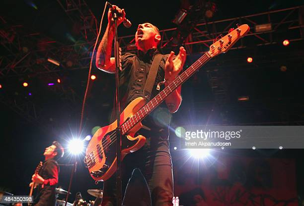 Musician Chris Barker of AntiFlag performs onstage during day 1 of the 2014 Coachella Valley Music Arts Festival at the Empire Polo Club on April 11...