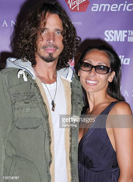 Musician Chris Cornell and wife Vicky Cornell attend the 2009 Sunset Strip Music Festival Virgin America After Party held at Andaz Hotel on September...