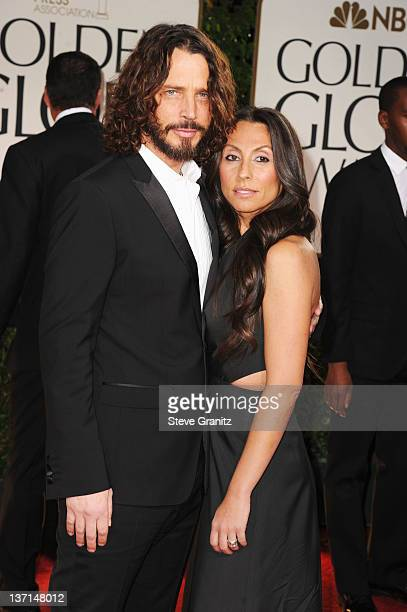 Musician Chris Cornell and wife Vicky Karayiannis arrive at the 69th Annual Golden Globe Awards held at the Beverly Hilton Hotel on January 15 2012...