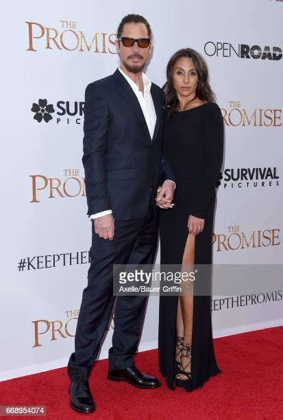 Musician Chris Cornell and wife Vicky Karayiannis arrive at the Premiere of Open Road Films' 'The Promise' at TCL Chinese Theatre on April 12 2017 in...