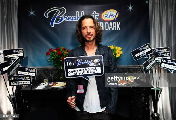 Musician Chris Cornell attends the I Can't Believe It's Not Butter 'Breakfast After Dark' Gift Lounge at The 28th Rock and Roll Hall of Fame...