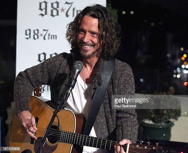 Musician Chris Cornell performs at 987FM Penthouse Party presents Soundgarden In Concert at the historic Hollywood Tower on April 24 2013 in...
