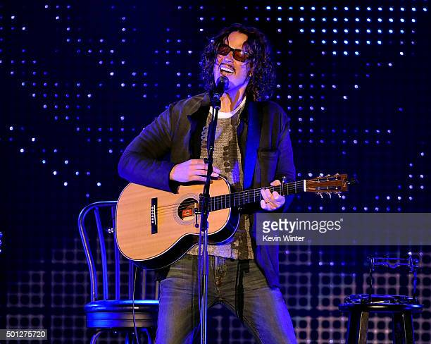 Musician Chris Cornell performs onstage during 1067 KROQ Almost Acoustic Christmas 2015 at The Forum on December 13 2015 in Los Angeles California