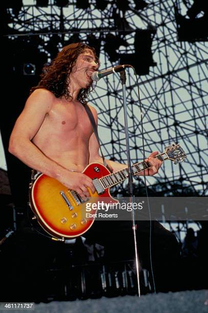 Musician Chris Cornell with band Soundgarden on stage at Lollapalooza 1996