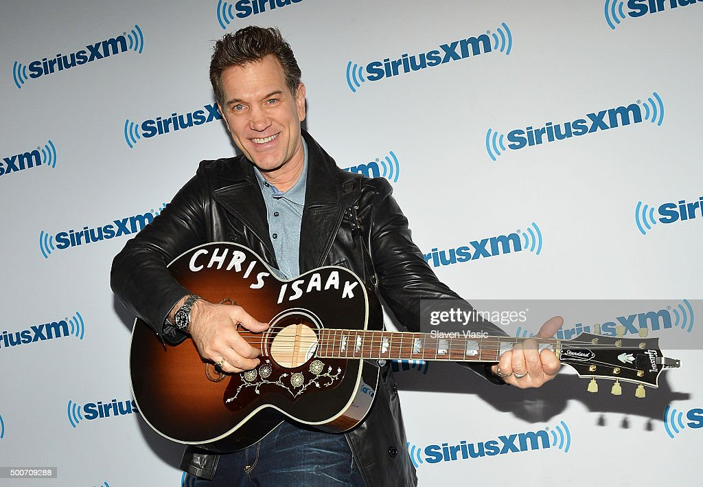 Musician Chris Isaak visis SiriusXM Studios on December 9, 2015 in New York City.
