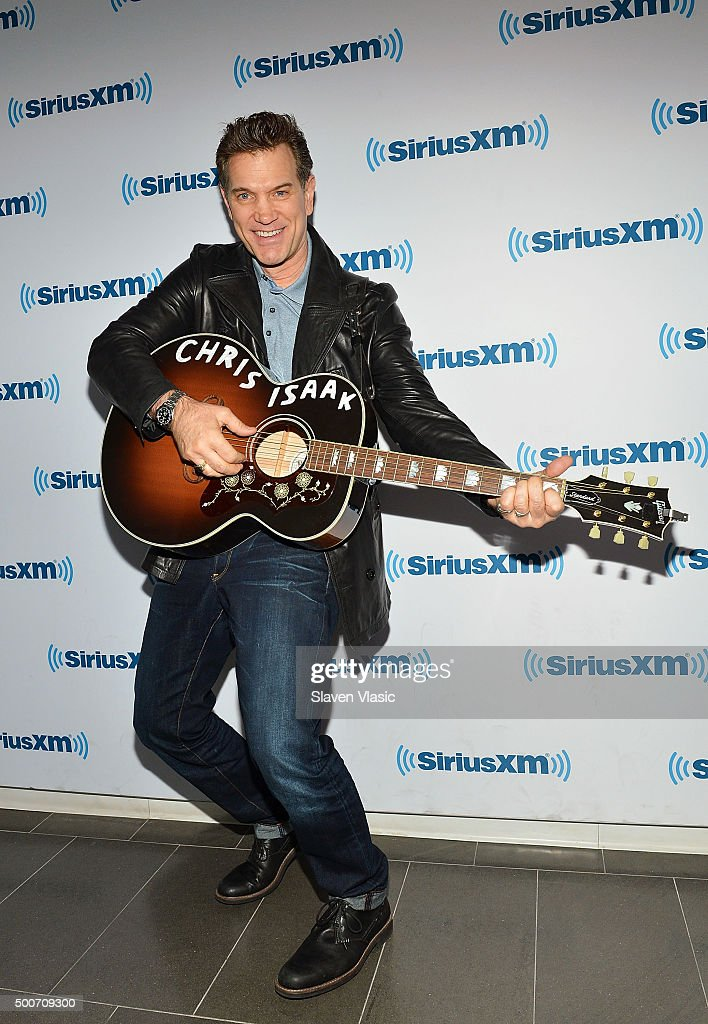 Musician Chris Isaak visis SiriusXM Studios on December 9, 2015 in New York City.