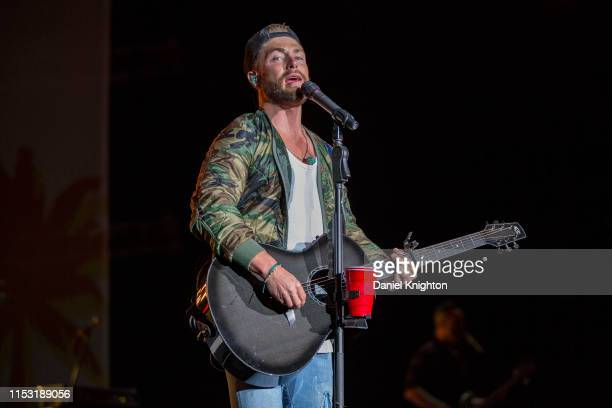 Musician Chris Lane performs on stage at North Island Credit Union Amphitheatre on June 01 2019 in Chula Vista California