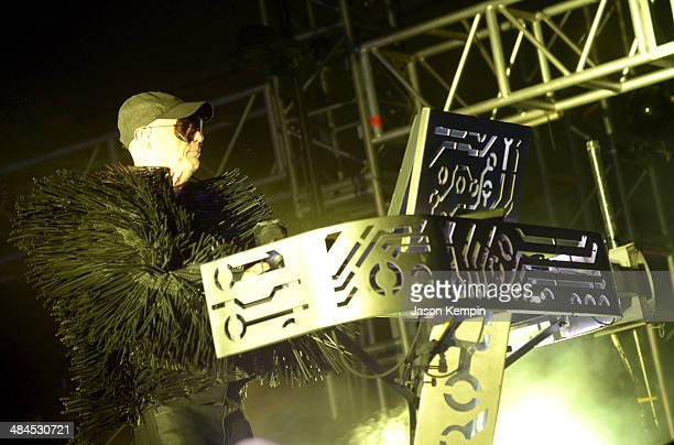 Musician Chris Lowe of Pet Shop Boys performs onstage during day 2 of the 2014 Coachella Valley Music Arts Festival at the Empire Polo Club on April...